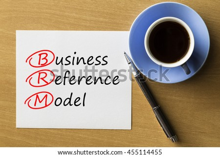 BRM Business Reference Model - handwriting on notebook with cup of coffee and pen, acronym business concept