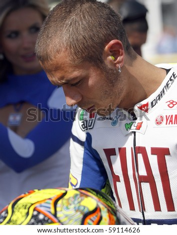 BRNO, CZECH REP, AUGUST-15:Valentino Rossi at the Masaryk circuit arrived fifth on Sunday August 15, 2010 in Brno, Czech republic. He announced the change of the Yamaha team for Ducati.
