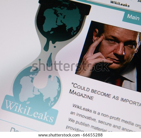 BRNO, CZECH REP. - DECEMBER, 6: WikiLeaks is an international non-profit organization that publishes submissions of otherwise unavailable documents from anonymous news sources and leaks. View of the WikiLeaks homepage featuring its founder Julian Assange - stock photo