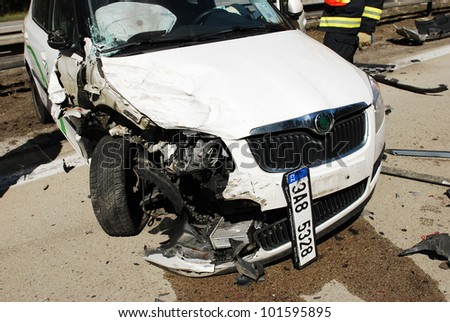 BRNO, CZECH REPUBLIC - APRIL 27: Damaged cars after a crash with 8 vehicles on the highway Brno-Bratislava on April 27, 2012 in Brno, Czech Republic