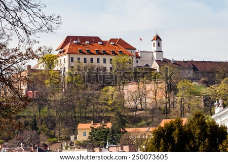 BRNO, CZECH REPUBLIC - APRIL 10: Spilberk Castle (German: Spielberg), an old castle on the hilltop in Brno on April 10, 2012. Brno is the second largest city in the Czech Republic. - stock photo