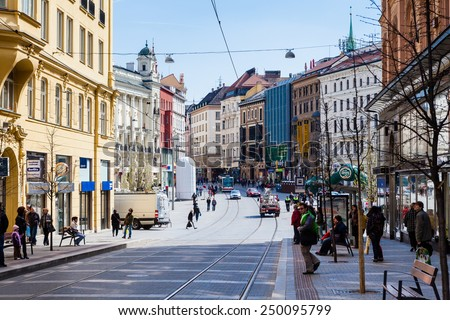 BRNO, CZECH REPUBLIC - APRIL 10: The Liberty Square in the city centre Brno on April 10, 2012. Brno is the second largest city in the Czech Republic.  - stock photo