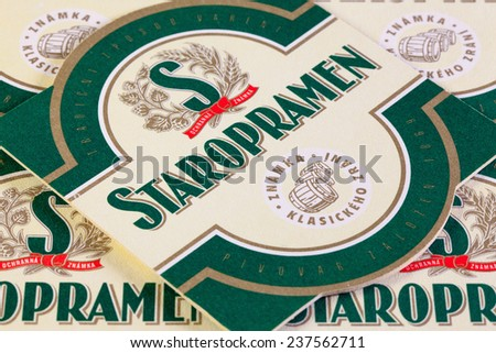 Brno,Czech Republic-August 1,2014:Beermats from Staropramen beer.Staropramen Brewery is the second largest brewery in the Czech Republic.It is owned by Molson Coors - stock photo