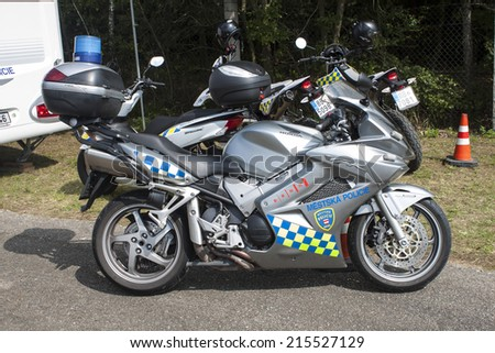 BRNO, CZECH REPUBLIC, AUGUST 16, 2014: Brno city police motorbike in ensuring MOTOGP, city police involved in the transportation and safety of visitors MotoGP race at the Masaryk circuit. - stock photo