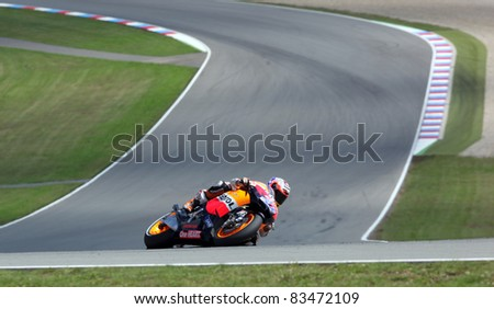 BRNO, CZECH REPUBLIC, AUGUST 14:Casey Stoner in the MotoGP race in world championship on 14 august, 2011, in Brno, Czech republic.