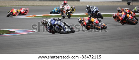 BRNO, CZECH REPUBLIC, AUGUST 14: Casey Stoner (nr.27) in the MotoGP race in world championship on 14 august, 2011, in Brno, Czech republic. - stock photo