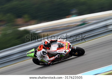BRNO - CZECH REPUBLIC, AUGUST 16: Colombian Ducati rider Yonny Hernandez at 2015 MotoGP of Czech Republic at Brno circuit on August 16, 2015