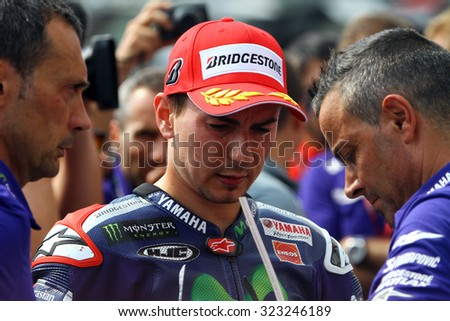 BRNO - CZECH REPUBLIC, AUGUST 15: Spanish Yamaha rider Jorge Lorenzo wins the 2015 MotoGP of Czech Republic at Brno circuit on August 15, 2015