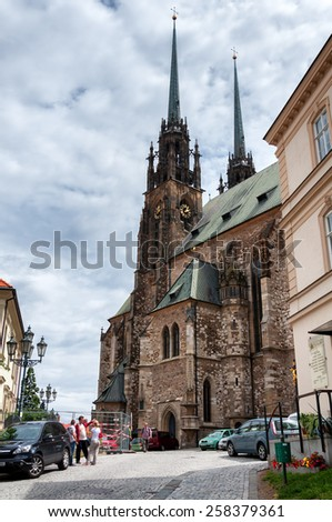 Brno, Czech Republic - July 2012 - Old Catholic Church in Brno city, second largest city in Czech Republic - stock photo