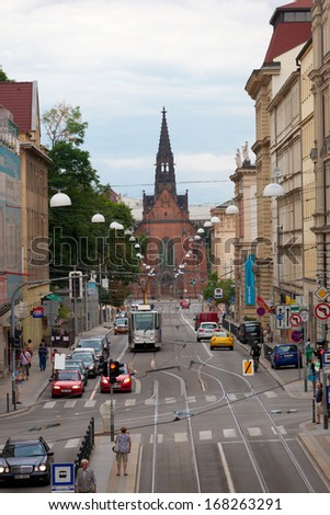 BRNO, CZECH REPUBLIC - JULY, 30: View of the Red church in Brno, the Czech Republic, July, 30, 2013. Second-large city of the Czech Republic and the largest city of Moravia - stock photo