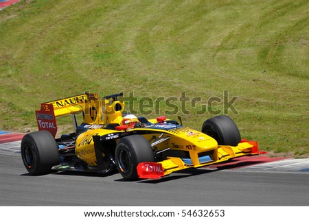 BRNO,CZECH REPUBLIC-JUNE 5: Renault F1 Team exhibice in the World Series by Renault June 5, 2010 in Brno, Czech republic - stock photo