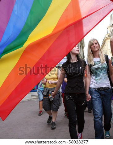 BRNO, CZECH REPUBLIC - JUNE 26: Two lesbian to on the Queer Parade on JUNE 26, 2010 in Brno, Czech republic.
