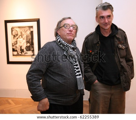 BRNO, CZECH REPUBLIC- SEPT. 30: American photographer Joel Peter Witkin (L) opens his exposition at Brno Art House, on Thursday, Sept. 30, 2010 in Brno, Czech Republic. - stock photo
