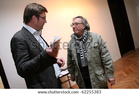 BRNO, CZECH REPUBLIC- SEPT. 30: American photographer Joel Peter Witkin (R) opens his exposition at Brno Art House, on Thursday, Sept. 30, 2010 in Brno, Czech Republic. - stock photo