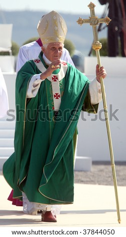 BRNO - SEPT 27: Holy father Pope Benedict XVI gestures as he greets about 120,000 pilgrims from central Europe on September 27, 2009 in Brno, Czech Republic. - stock photo