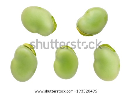 broad beans isolated on white background - stock photo