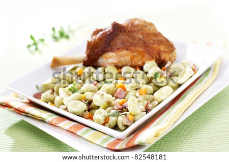 Broad beans stew with vegetables and meat - stock photo