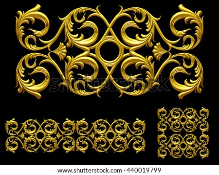 """broad, golden, ornamental segment, """" whirl """", straight, wide version for frieze, surface or border. 3d illustration - stock photo"""