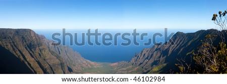 Broad Panorama over Kalalau Valley on Na Pali Coast in Kauai - stock photo