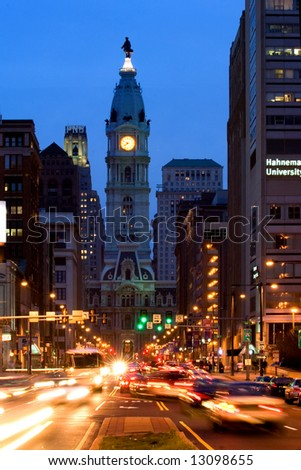 Broad street and Philadelphia City Hall in Center City - stock photo