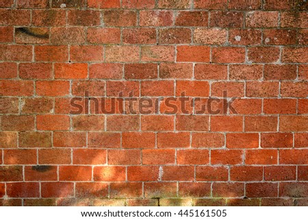 Broad wall, red brick, in Tuscan terracotta. /  Red Brick Wall - stock photo