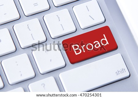 Broad word in red keyboard buttons