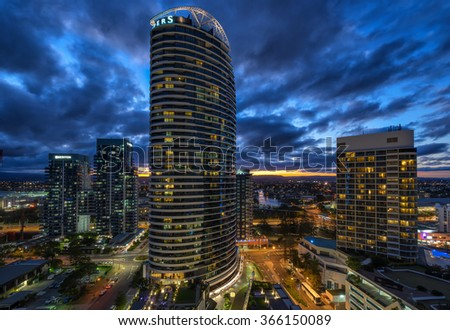 Broadbeach, Qld, Australia on 20th Jan 2016: The Oracle is a two-tower luxury apartment development in Broadbeach on the GC. It holds the record for tallest and highest apartment sale in Broadbeach.