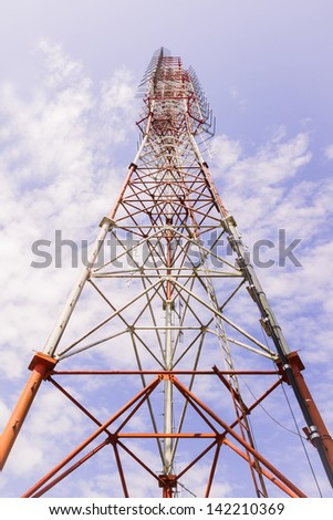 Broadcast radio tower view from bottom - stock photo