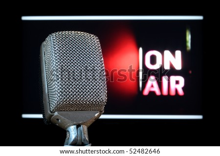 Broadcast Studio Microphone ready to go On-Air - stock photo