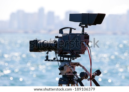 Broadcasting and Recording with Digital Camera - stock photo