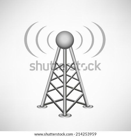broadcasting antenna with construction and signal waves around on the white mesh background - stock photo