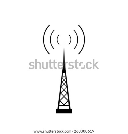 Broadcasting antenna with signal waves on white background. - stock photo