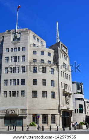 Broadcasting House the London headquarters building of the BBC which is a British public service broadcaster - stock photo