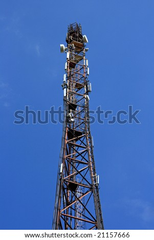 Broadcasting tower with a lot of TV, radio and cellular antennas