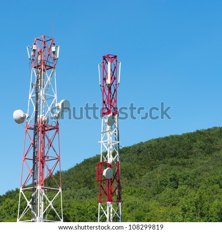 broadcasting towers In mountains - stock photo