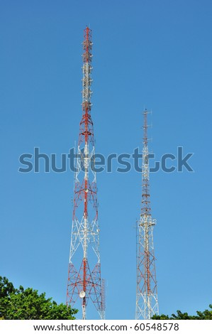 Broadcasting towers, Telecommunication tower - stock photo