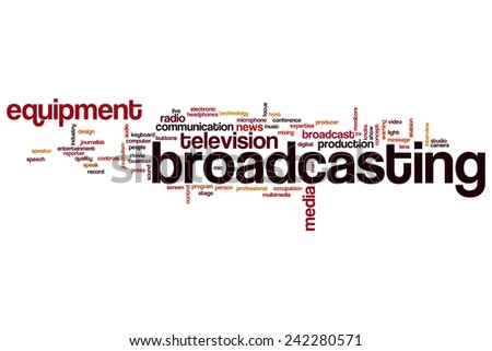 Broadcasting word cloud concept with media technology related tags - stock photo