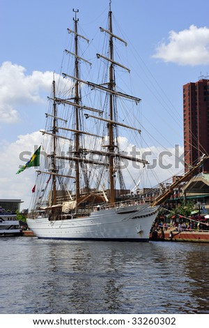 "Broadside view of Brazilian Navy ship ""Cisne Branco"" berthed at Inner Harbor, Baltimore, MD - stock photo"