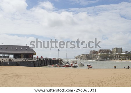 BROADSTAIRS,UK-JUNE 15: View of Viking Bay and Bleak House in Broadstairs.  Kent beaches have been voted as some of the best in Europe for families in 2015. June 15, 2015 in Broadstairs Kent UK. - stock photo