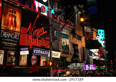 Broadway at night in New York City