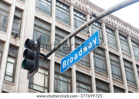 Broadway boulevard street sign in Los Angeles  - stock photo