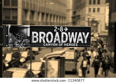 Broadway, road sign, Manhattan - stock photo