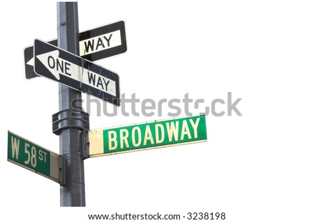 Broadway sign in Manhattan New York isolated against white - stock photo