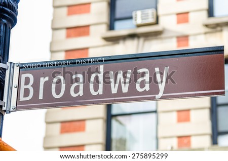 Broadway Street Sign with blurred Background - stock photo