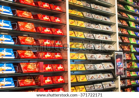BROC, SWITZERLAND - JAN 16, 2016: Shop interior of the Cailler chocolaterie, inventor of milk chocolate