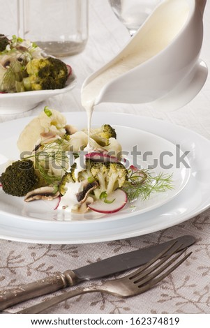 broccoli and cauliflower steamed with mushrooms. Vegan recipe