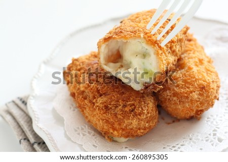 broccoli and Cream croquette in Japanese style - stock photo