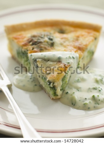 Broccoli and Roquefort Quiche with Broccoli sauce - stock photo