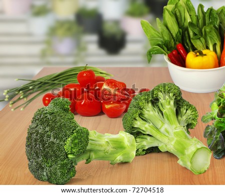 broccoli and vegetables - stock photo