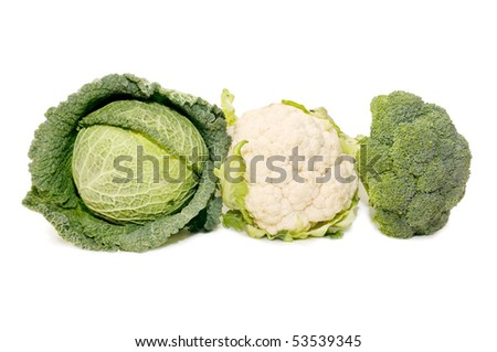 broccoli, cauliflower and cabbage - stock photo